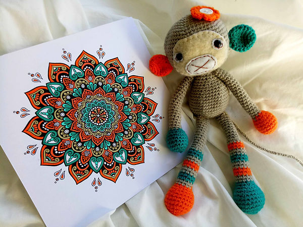 Mandala drawing and crochet classes monkey