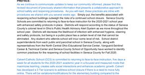 Calvert Catholic Schools Reopening Plan