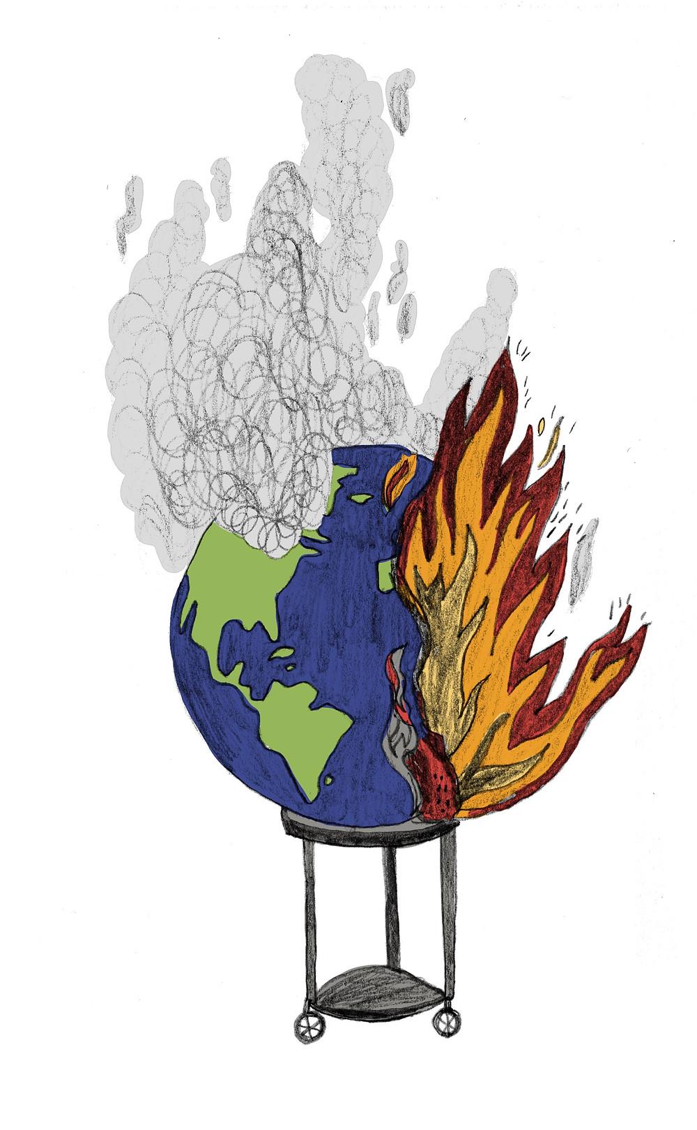 Brennender, rauchender Globus.