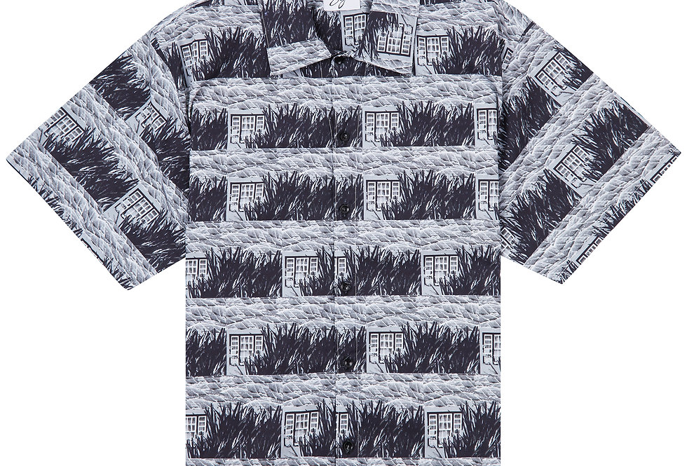 Country Print Cuban Collar Shirt