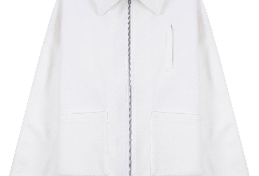 White Wool-Blend Blouson Jacket