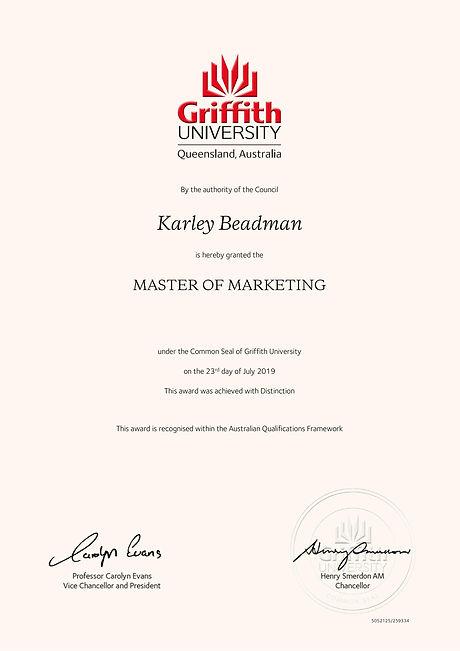 Karley Beadman Master of Marketing with