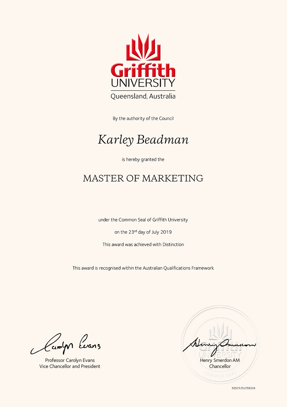 Master of Marketing with Distinction from Griffith University.