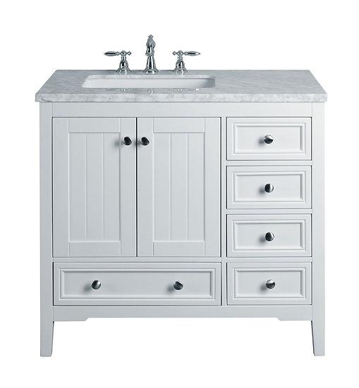 "New Yorker 36"" White Single Sink Vanity"