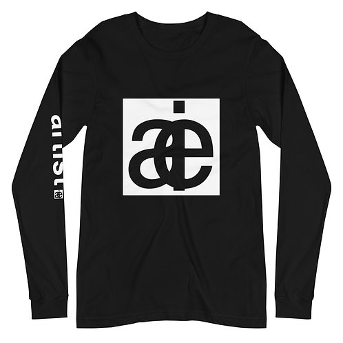 AIE logo & artist sleeve. Unisex long sleeve shirt. Black & white.