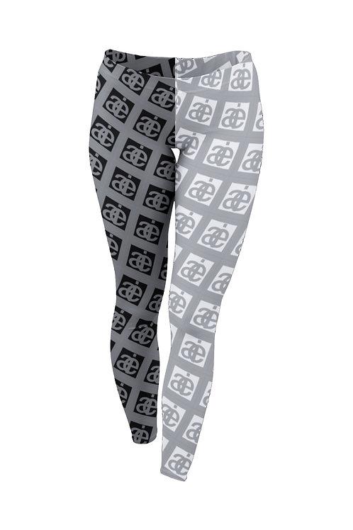 Half & half. AIE logo leggings. Grey.