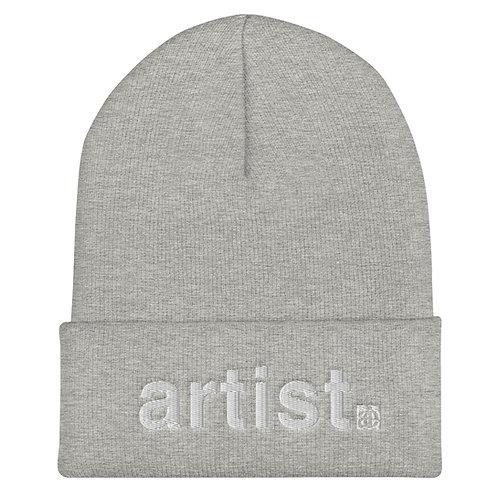 artist. Cuffed beanie / tuque. Grey or black.