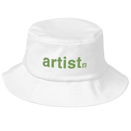 artist. Old school bucket hat. White & green.