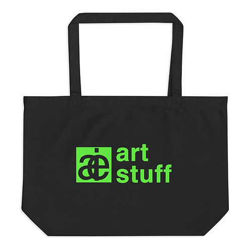 art stuff. Large organic tote bag. Black & green.