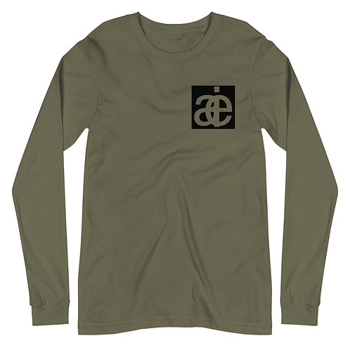 AIE front logo & back text. Long sleeve tee. Green.