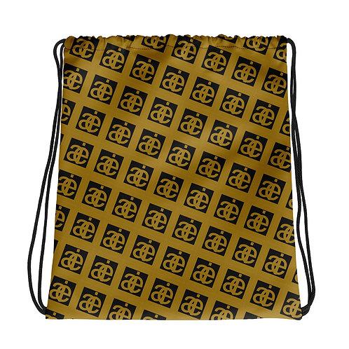 AIE drawstring bag. Black & mustard