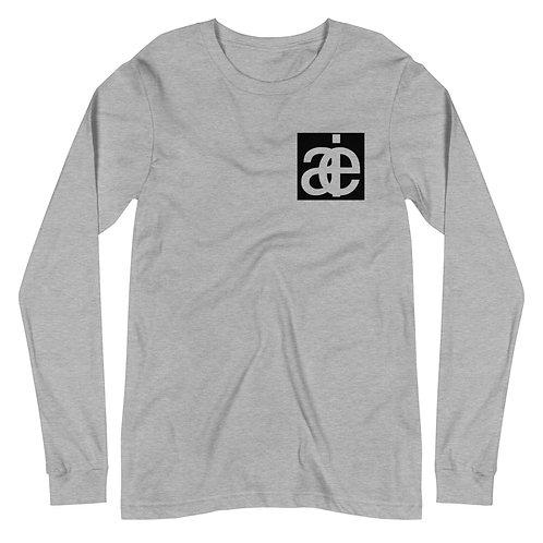 AIE logo & back text. Long sleeve tee. Grey.