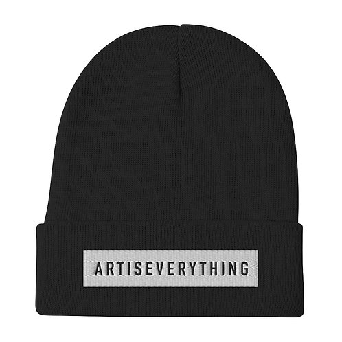 ARTISEVERYTHING. Embroidered beanie/ tuque. Black.