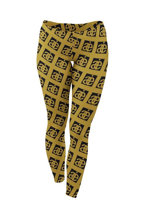 AIE logo. Leggings. Black & mustard.
