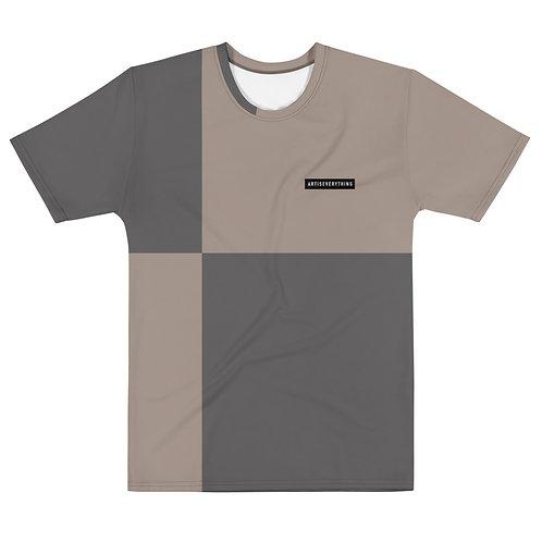 AIE block. Unisex tshirt. Grey & sand.