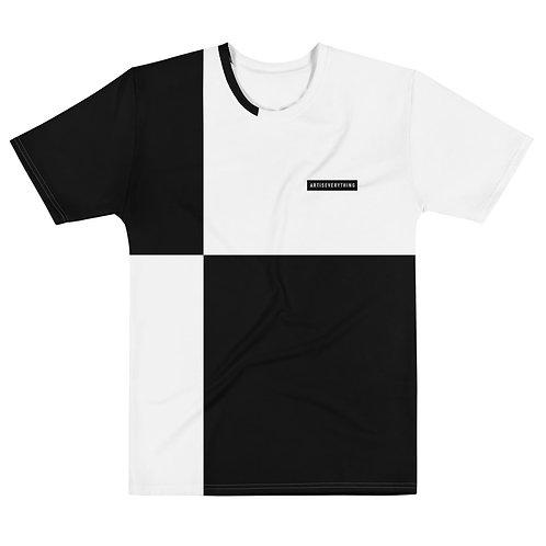AIE block t-shirt. Black & white.