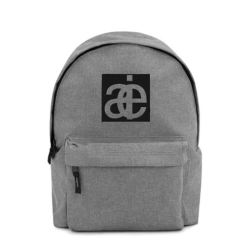 AIE logo embroidered backpack. Grey.