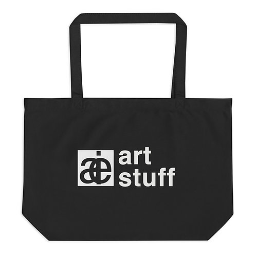 art stuff. Large organic tote bag. Black.