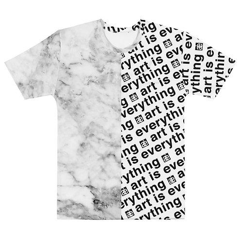 Half & half. AIE & marble t-shirt. White & black.