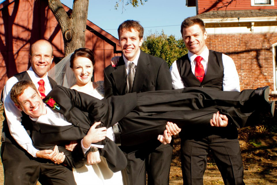My brothers and I, holding my husband on our wedding day. L-R, Sean, Shannon, Ryan, Rory. Nate is being held.