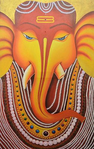 ganesha art on  Canvas Hand Painted -  30'' inches / 48'' inches -   Ganesha - G