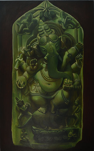 ganesha art on Canvas Hand Painted -  30'' inches / 48'' inche