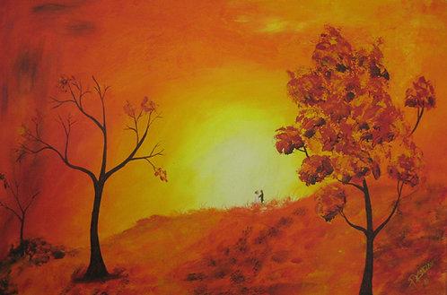 sunrise art Canvas Hand Painted
