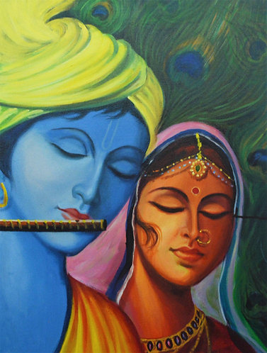 copy of Radha Krishna paintingsart on  Canvas Hand Painted -  36'' inches / 48''