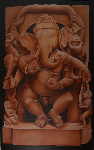 ganesha art on  Canvas Hand Painted -  30'' inches / 48'' inches -   Ganesha - G