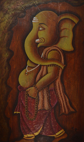 ganesha art on  Canvas Hand Painted -  36'' inches / 60'' inches -   Ganesha - G
