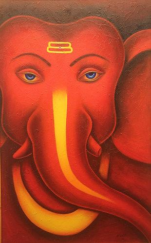 copy of copy of ganesha art on  Canvas Hand Painted -  30'' inches / 48'' inches