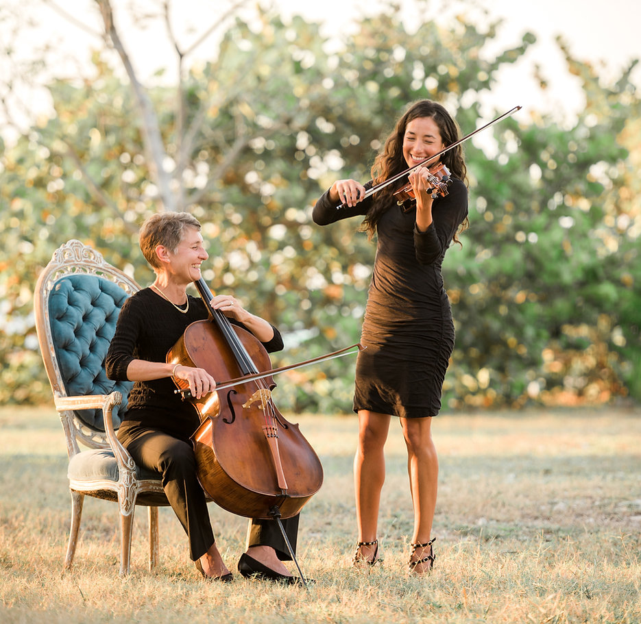 The Key West Duo, cell and violin, Key West Wedding musicians, classical music, strings, classical duo, cellist, violinist, Key West wedding, Fort Zachary Taylor Park,