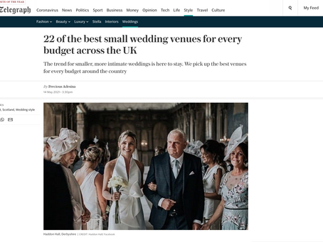 We are so excited to be featured in the telegraph's top 22 small wedding venues across the uk