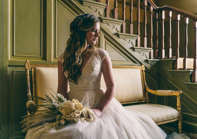 Bride beneath Staircase
