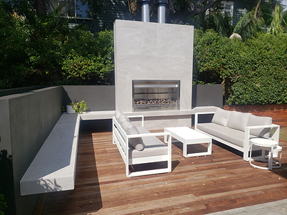 tiled bbq seats and chimney