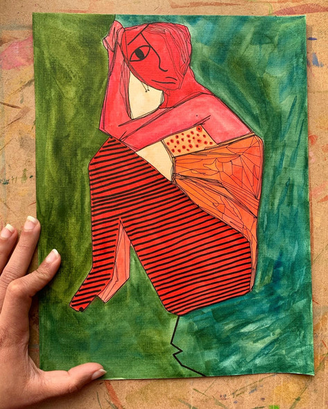 Red Woman With Belly Rolls