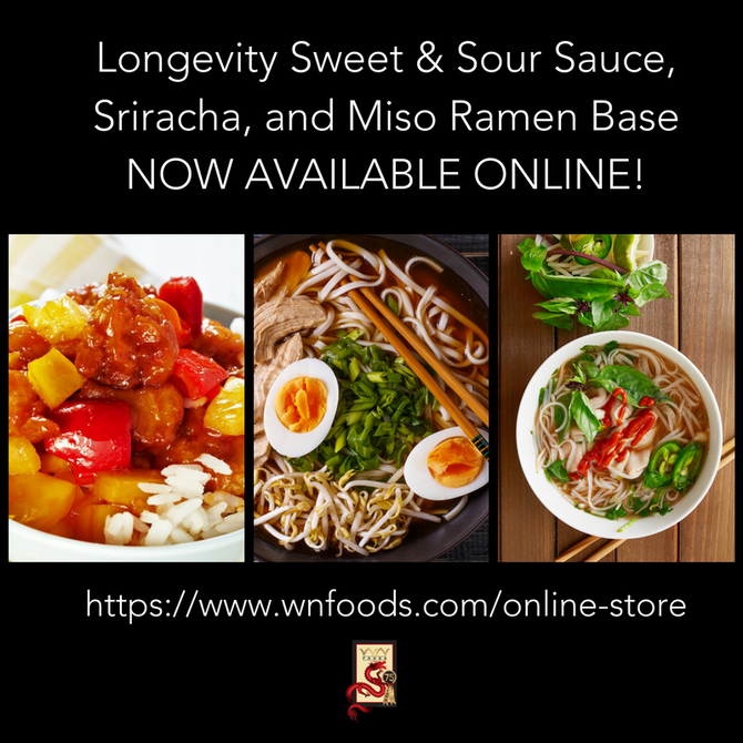 Longevity Sweet & Sour Sauce, Sriracha, and Miso Ramen Base NOW AVAILABLE!