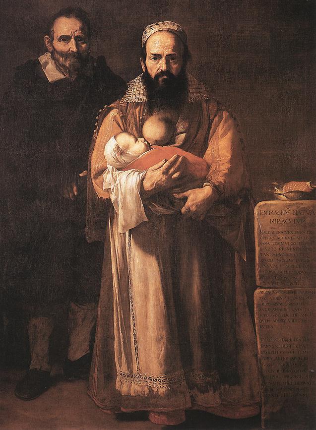 Woman with beard breastfeeding