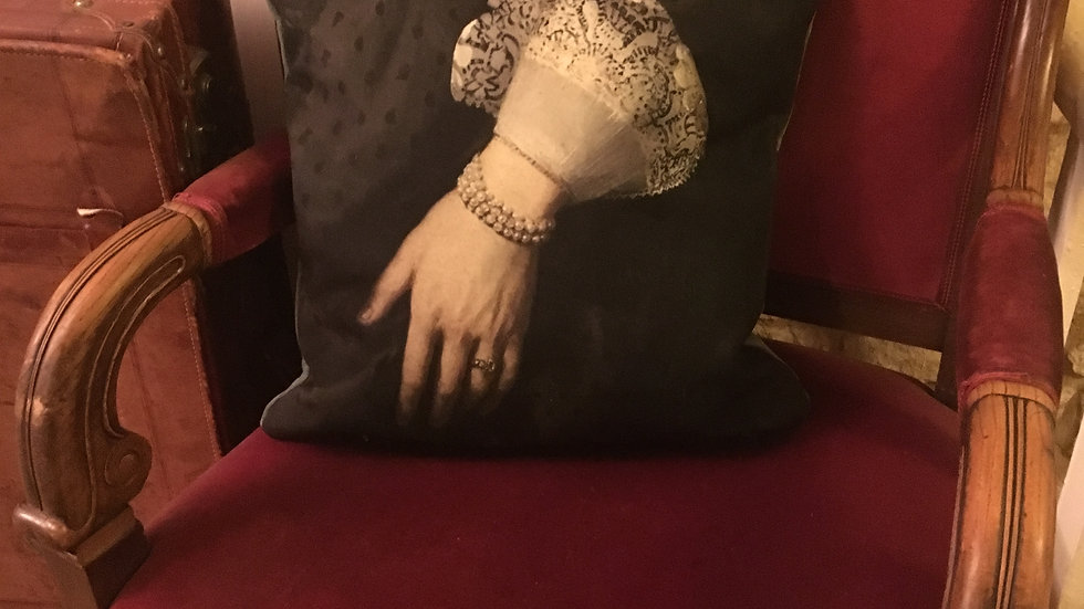 Cushion cover with detail of 17th century painting