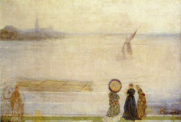 """1863c James Abbott McNeill Whistler """"Battersea Reach from Lindsey Houses"""" oil on canvas 76.2 x 50.8 cm"""