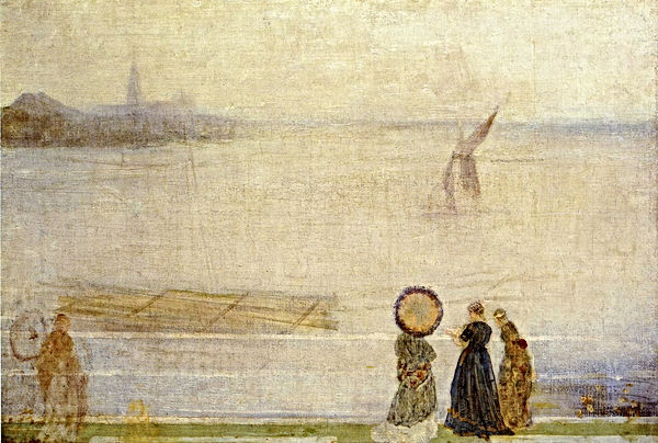 "1863c James Abbott McNeill Whistler ""Battersea Reach from Lindsey Houses"" oil on canvas 76.2 x 50.8 cm"