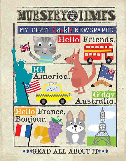 Nursery Times Crinkly Newspaper - Hello Friends