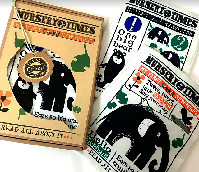 Black Print Duo Box -  Nursery Times Crinkly Cloth Newspapers