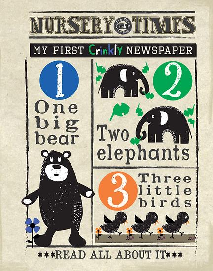 Nursery Times Crinkly Newspaper - Counting Animals Black Print