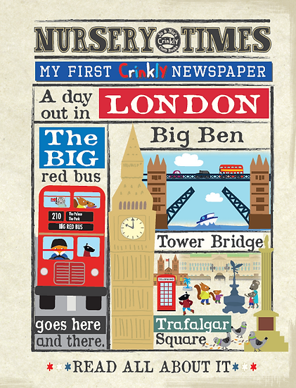 Nursery Times Crinkly Newspaper - Busy day in London