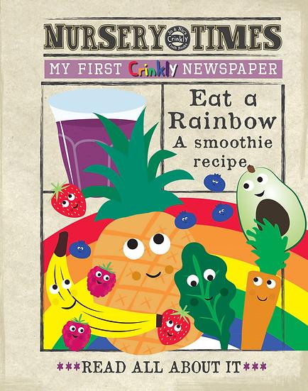 Nursery Times Crinkly Newspaper - Eat a Rainbow