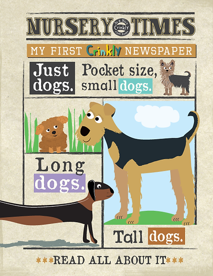 Nursery Times Crinkly Newspaper - Just Dogs
