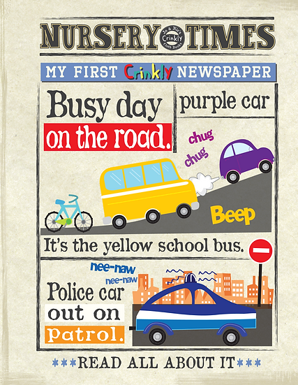 Nursery Times Crinkly Newspaper - Busier Day on the Road