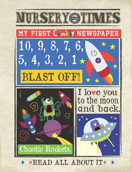 Nursery Times Crinkly Newspaper - Space Countdown