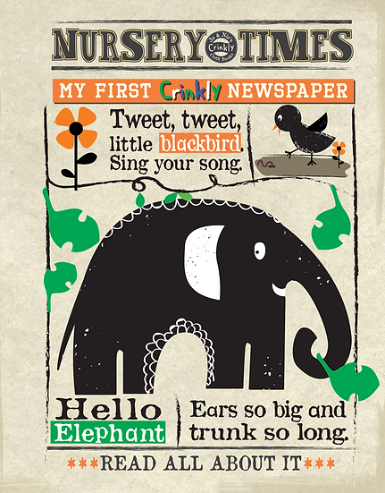 Nursery Times Crinkly Newspaper - Animals Black Print